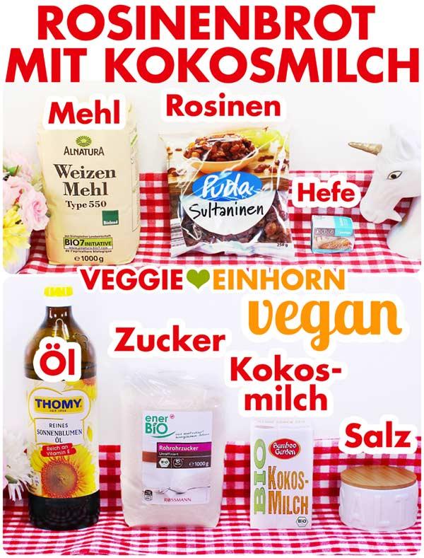 Rosinenstuten saftig | Veganes Rosinenbrot ohne Ei | Backen mit Kokosmilch vegan