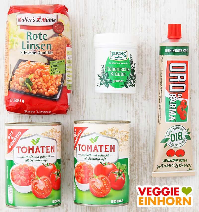 Zutaten für Rote Linsen Bolognese (Rote Linsen, Tomatenmark, Dosentomaten)