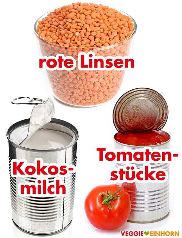 Rote Linsen, Kokosmilch und Tomatenstücke aus der Dose