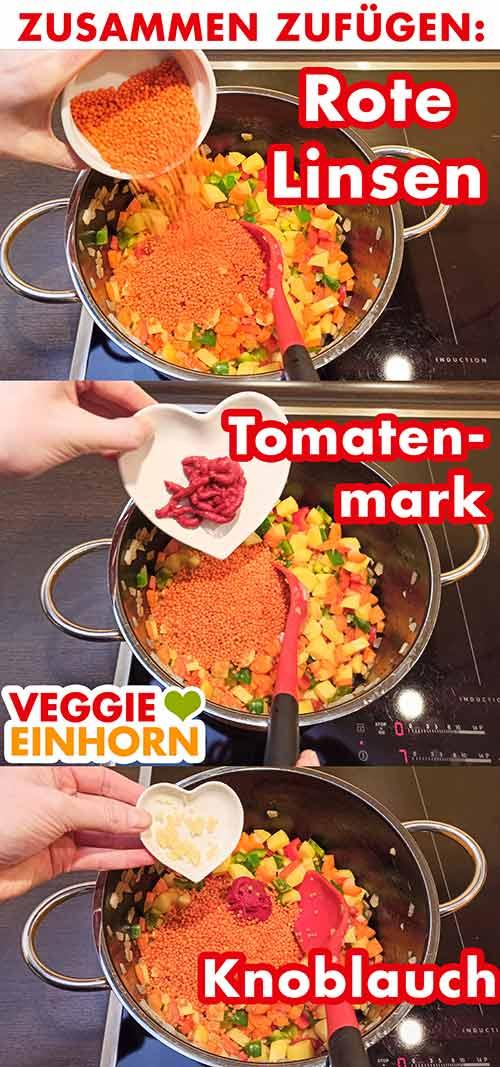 Rote Linsen, Tomatenmark und Knoblauch werden zugefügt