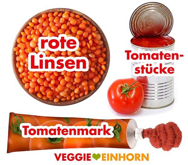 Rote Linsen, Tomatenstücke, Tomatenmark