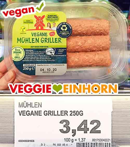 Eine Packung vegane Mühlen Bratwurst von Rügenwalder im Supermarkt