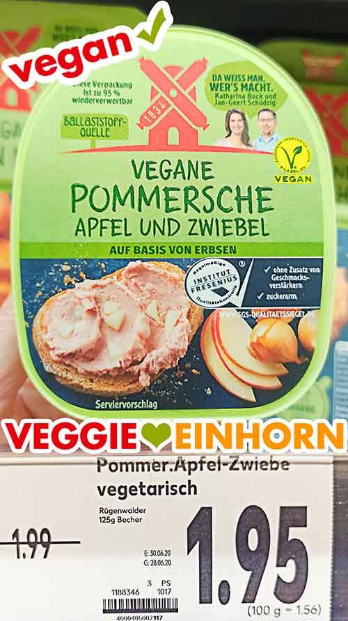 Vegane Pommersche Apfel und Zwiebel von Rügenwalder im Supermarkt