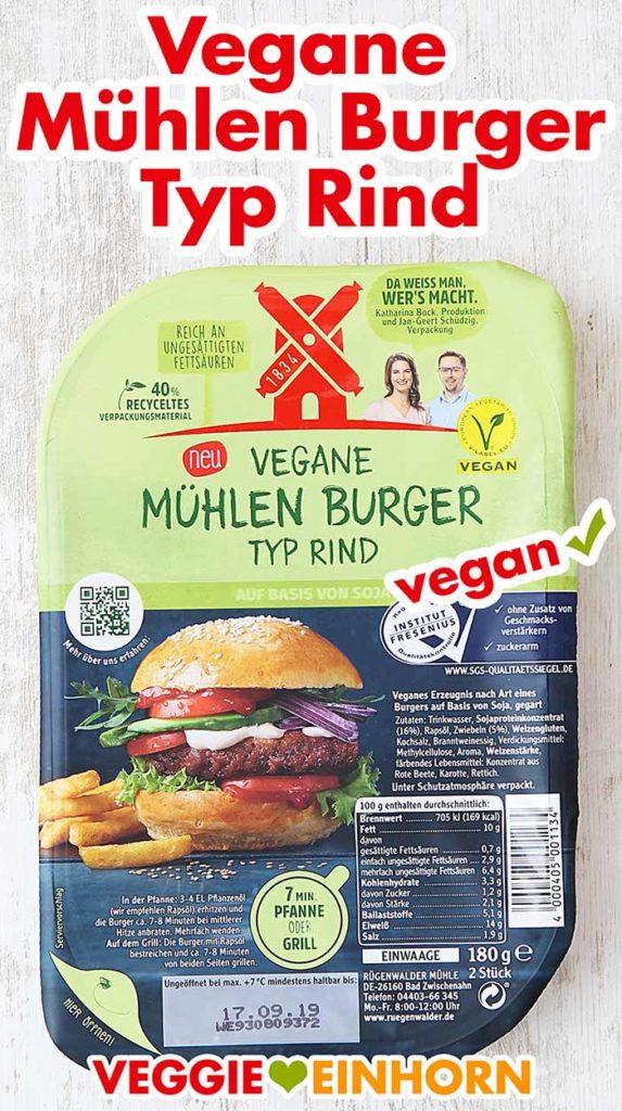 Eine Packung vegane Mühlen Burger Typ Rind von Rügenwalder