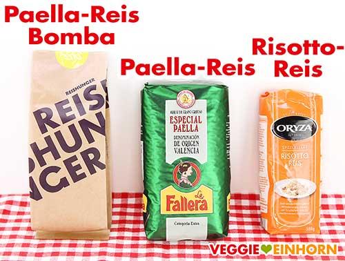 Drei Packungen Rundkornreis für Paella