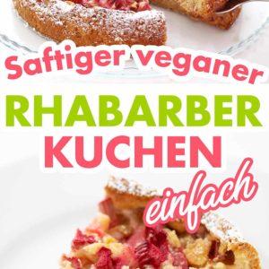 Saftiger veganer Rhabarberkuchen