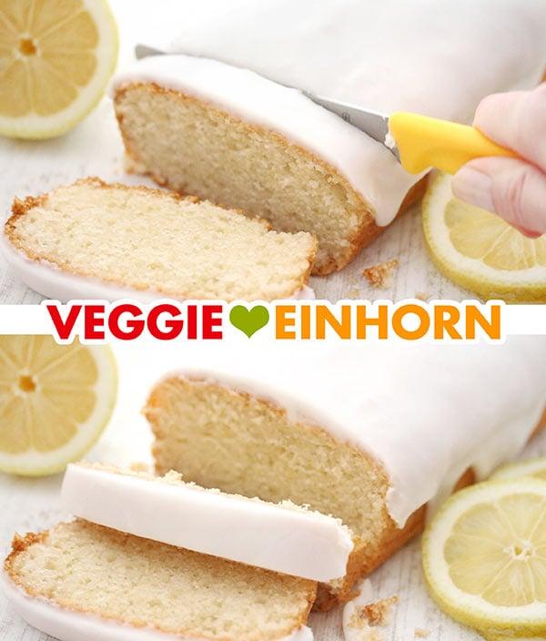 Saftiger veganer Zitronenkuchen wird angeschnitten