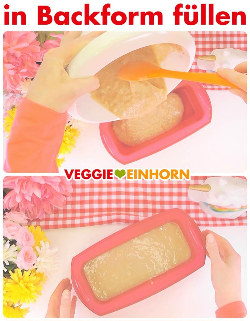 Saftiges veganes Bananenbrot | Einfaches Rezept | Schritt für Schritt Fotos | Teig in Silikon-Kastenbackform