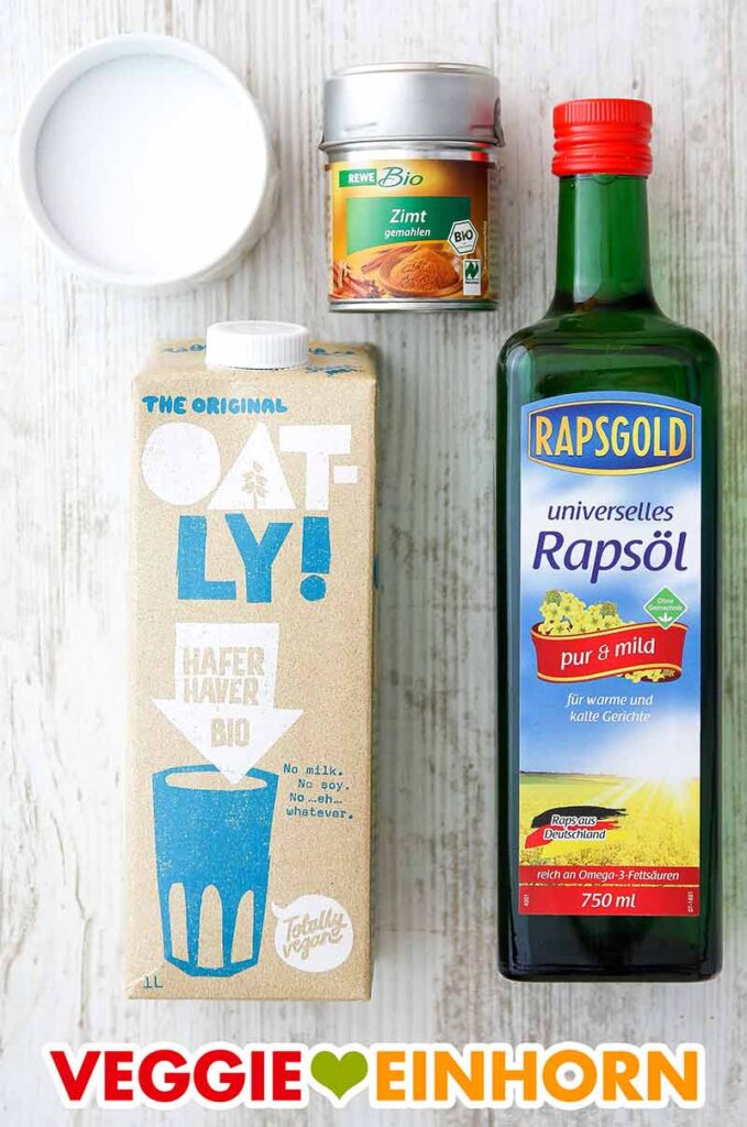 Salz, Zimt, Hafermilch, Rapsöl