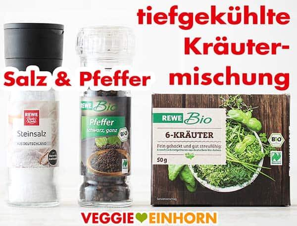Salz, Pfeffer und tiefgekühlte Kräutermischung