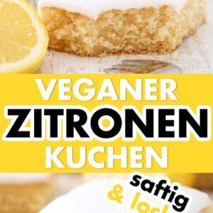Einfacher veganer Blechkuchen mit Zitrone und Zuckerguss