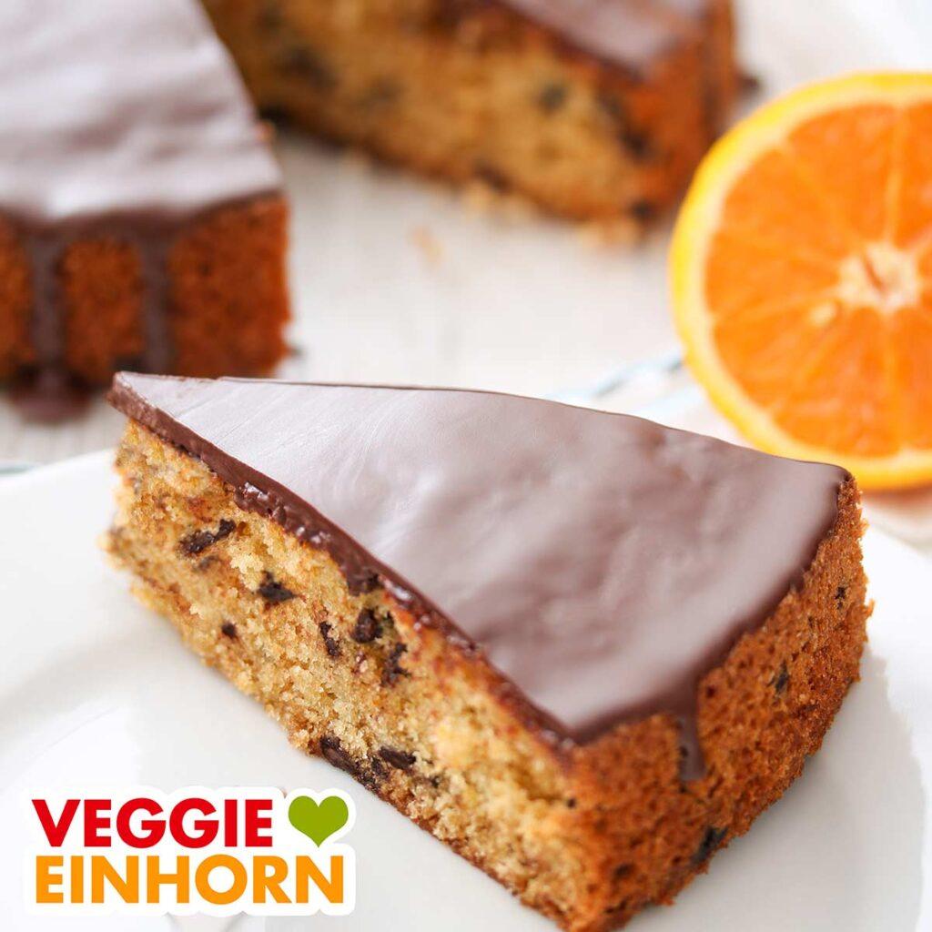 Ein Stück Orangen Schoko Kuchen