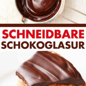 Schokoladenüberzug im Schmelztopf und auf einem Kuchenstück