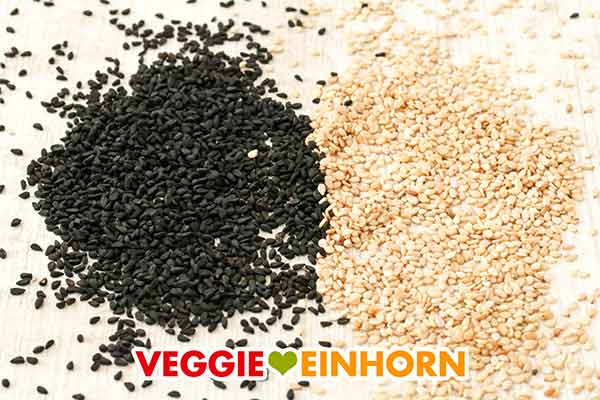 Schwarzkümmel Samen und Sesamsamen
