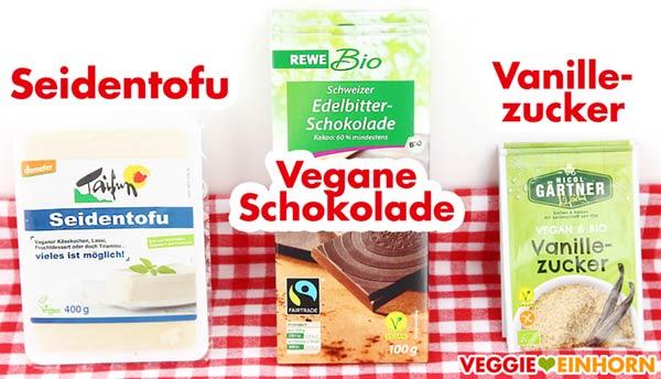 Zutaten für Mousse au Chocolat Seidentofu Vegane Schokolade Vanillezucker
