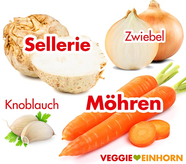 Sellerie, Möhren, Zwiebel, Knoblauch