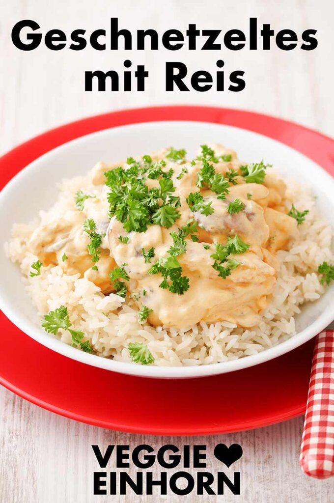 Vegetarisches Soja Geschnetzeltes mit Reis