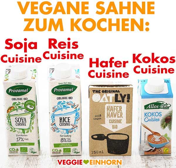 Vegane Sahne zum Kochen - Soja, Reis, Hafer und Kokos Cuisine
