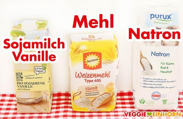 Sojamilch Vanille, Mehl, Natron