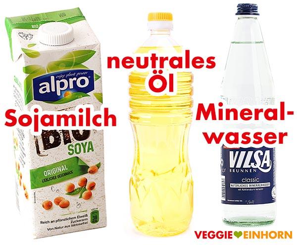 Sojamilch, neutrales Öl und Mineralwasser