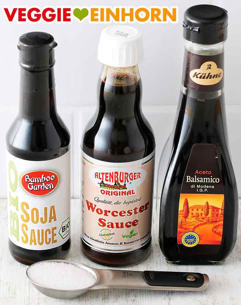 Sojasauce, Worcestersauce, Aceto balsamico Essig und Zucker