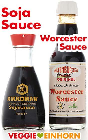 Sojasauce und Worcester Sauce