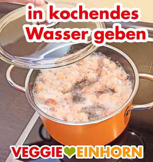Topf mit kochendem Wasser und Sojawürfeln