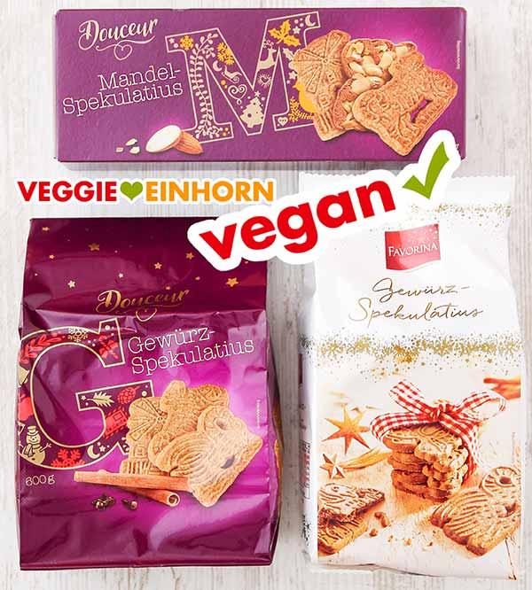Drei Packungen mit veganem Spekulatius
