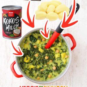Ein Topf mit Kartoffel Spinat Suppe, eine Dose Kokosmilch, eine Packung Blattspinat und eine Dose Kichererbsen