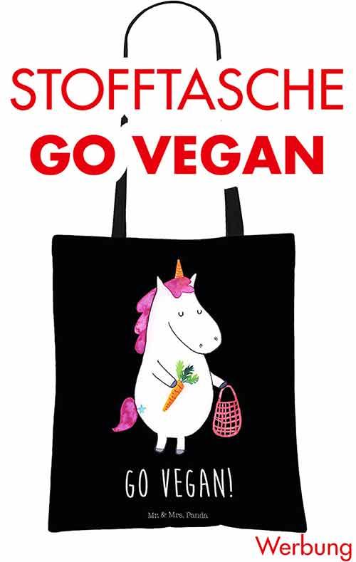 Stofftasche mit einem Einhorn und der Aufschrift Go Vegan