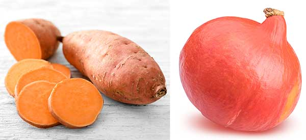 Süßkartoffel und Hokkaido Kürbis
