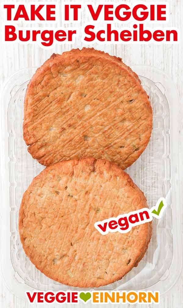 Zwei vegetarische Burger Patties in der geöffneten Verpackung