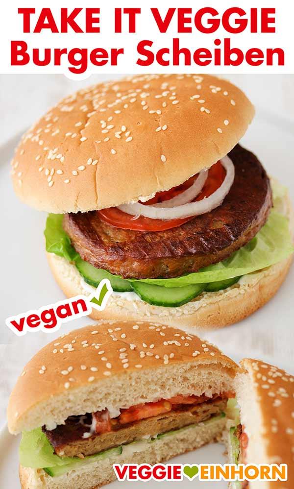 Zwei fertige Burger mit Take It Veggie Patties von Kaufland