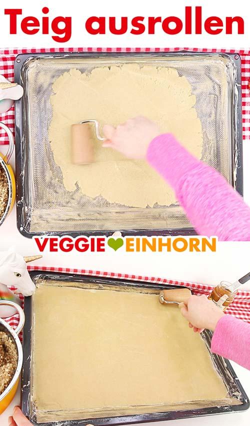 Teig ausrollen für vegane Nussecken