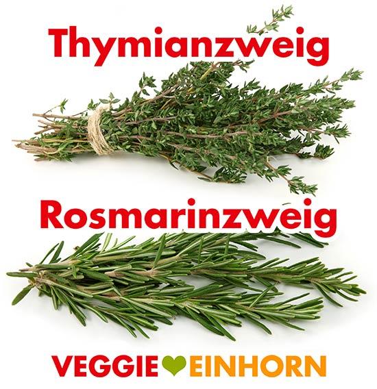 Ein Zweig frischer Thymian und ein Zweig Rosmarin