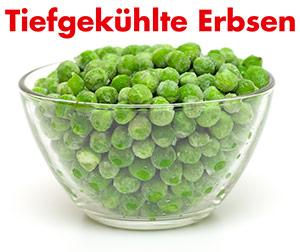 Eine Schale mit tiefgekühlten grünen Erbsen