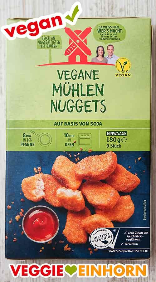 Eine Packung tiefgekühlte vegane Mühlen Nuggets