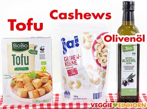 Tofu, Cashewkerne und Olivenöl
