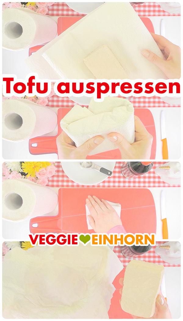 Tofu auspressen | Tofu trocknen mit Küchenpapier | Vegan kochen | vegane Rezepte deutsch #VeggieEinhorn