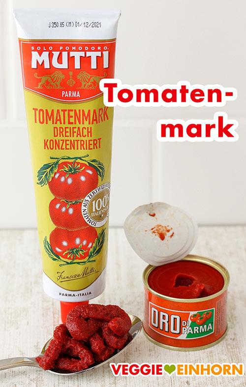 Eine Tube und eine kleine Dose mit Tomatenmark
