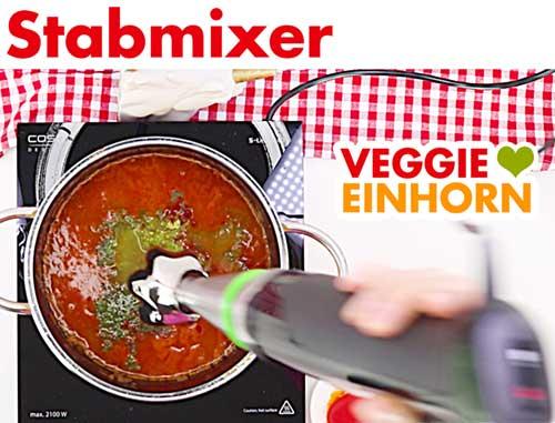 Stabmixer in die Suppe halten