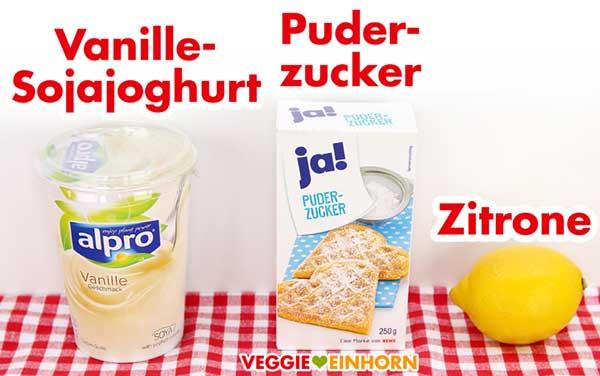 Sojajoghurt mit Vanille Geschmack, Puderzucker, Zitrone