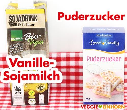 Vanille-Sojamilch und Puderzucker für Zuckerguss
