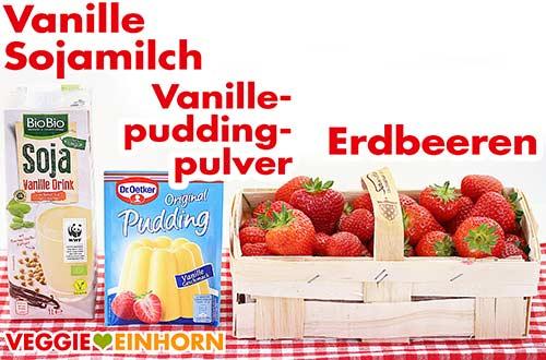 Vanille-Sojamilch, Vanillepuddingpulver und Erdbeeren