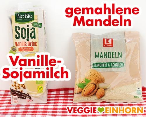 Vanille-Sojamilch und gemahlene Mandeln