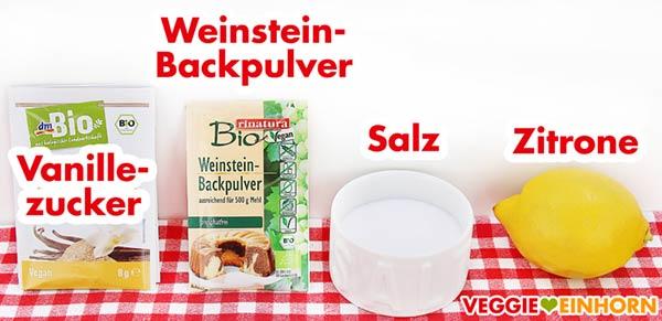Vanillezucker, Weinsteinbackpulver, Salz, Zitrone