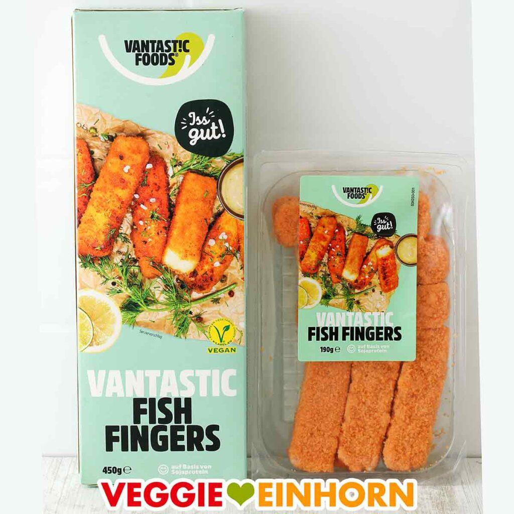 Zwei Packungen vegane Fischstäbchen von Vantastic Foods