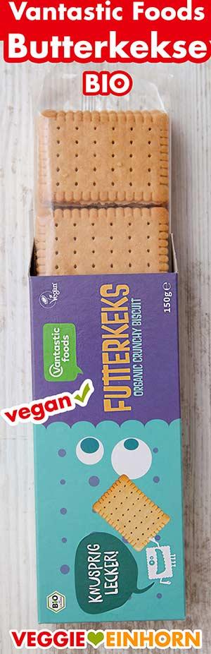 Eine Packung vegane Butterkekse von Vantastic Foods