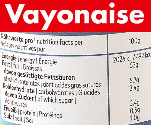 Nährwerte Tabelle von Vayonaise