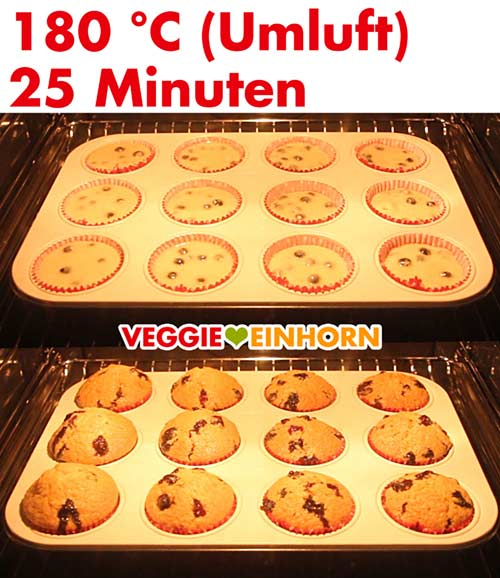 Vegane Muffins mit frischen Blaubeeren im Ofen